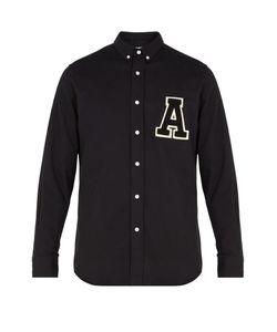 Ami | A-Appliqué Brushed-Cotton Shirt