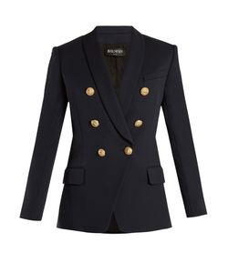 Balmain | Double-Breasted Shawl-Lapel Wool Blazer
