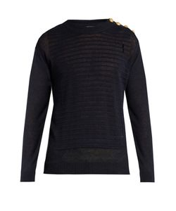Balmain | Button-Shoulder Distressed Linen Sweater