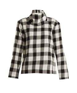 Tibi | Tess Checked Cotton-Blend Top