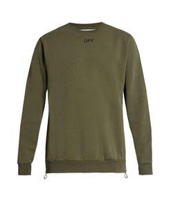 OFF-WHITE   Distressed-Trim Cotton-Jersey Sweatshirt