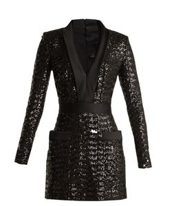 Balmain | Satin-Lapel Sequin-Embellished Mini Dress