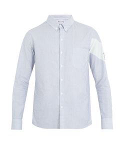 Moncler Gamme Bleu | Chevron-Print Single-Cuff Striped Cotton Shirt