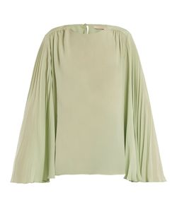 Christopher Kane | Pleated-Sleeve Crepe De Chine Top