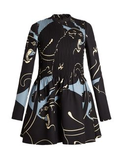 Valentino | Panther-Print Pintuck-Pleated Mini Dress