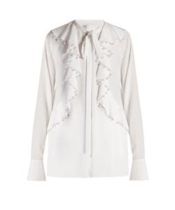 Givenchy | Faux-Pearl Embellished Ruffled Blouse