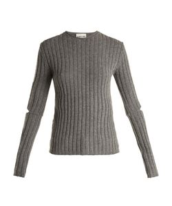 Helmut Lang | Cut-Out Sleeve Ribbed-Wool Sweater