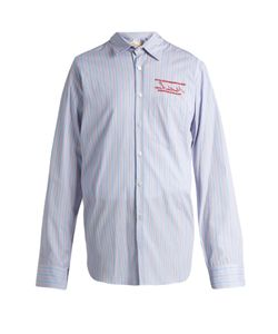 MARTINE ROSE | Embroide Striped Cotton-Poplin Shirt