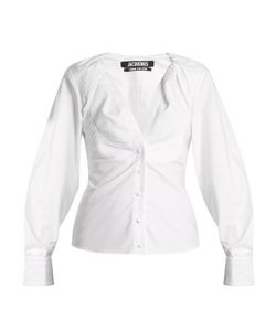 JACQUEMUS | Ruched-Neck Oxford-Cotton Shirt