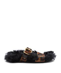 Prada | Shearling-Lined Calf-Hair Slides