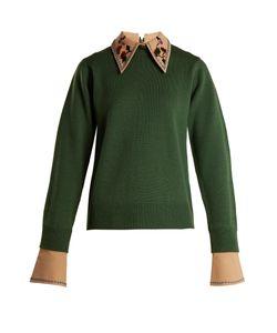 Muveil | Detachable-Collar Round-Neck Wool-Blend Sweater