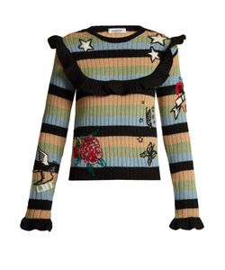 Valentino | Embroidered Striped Ribbed-Knit Wool Sweater