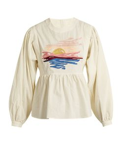 BLISS AND MISCHIEF | Sunset-Embroidered Long-Sleeved Cotton Blouse