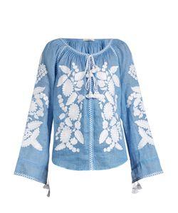 Vita Kin   Grapevine Embroidered Linen Blouse