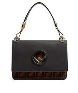 Fendi | Kan I Logo Leather And Velvet Shoulder Bag