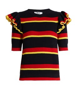 MSGM | Striped Ruffle-Trimmed Knit Sweater