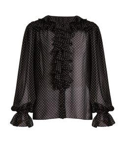 Dolce & Gabbana | Ruffled Polka-Dot Print Georgette Blouse