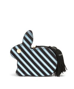 HILLIER BARTLEY | Bunny Striped Leather And Suede Clutch