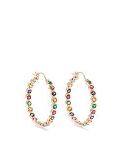 ALISON LOU | Emerald Ruby Sapphire Twister Earrings