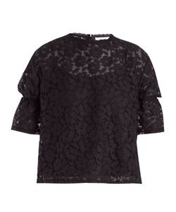 See By Chloe | Ruffled-Cuff Lace-Knit Top