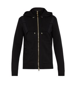 Balmain | Panelled Hooded Zip-Through Cotton Sweatshirt