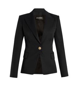 Balmain | Single-Breasted Peak-Lapel Wool Blazer