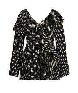 Diane Von Furstenberg | Fluted-Lapel Polka-Dot Print Wrap Silk Blouse
