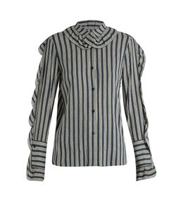 Sonia Rykiel | Striped Ruffle-Trimmed Crepe Blouse
