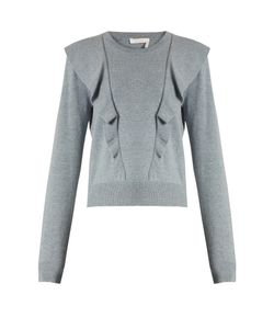 Chloe | Frilled Cashmere And Cotton-Blend Sweater