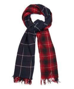 Y'S BY YOHJI YAMAMOTO | Double-Layer Checked Wool Scarf