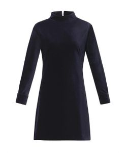Freda | Stand-Collar Velvet Dress