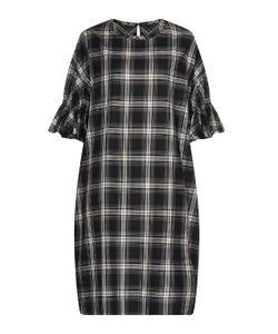 YOHJI YAMAMOTO REGULATION | Ruffle-Sleeve Checked Cotton-Twill Dress