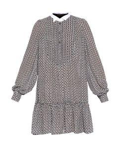 Giles | Tile-Print Ruffle-Hem Dress