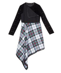 DANIELLE ROMERIL | Maki Tartan-Check And Flocked-Lace Midi Dress