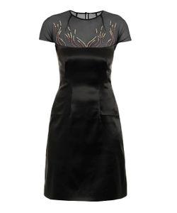 Marios Schwab   Embroidered Stretch-Satin Dress