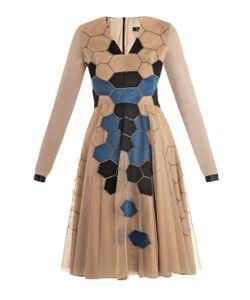 Marios Schwab | Honeycomb Embroidered Nude Dress