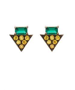 Nikos Koulis | Yellow-Diamond Emerald White-Gold Earrings