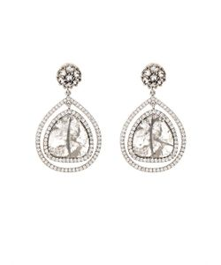 Susan Foster | Diamond Slice Pavé White-Gold Drop Earrings