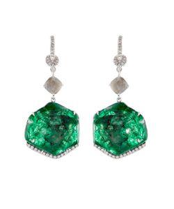 NSR NINA RUNSDORF | Diamond Emerald White-Gold Earrings