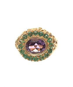 JADE JAGGER | Amethyst Emerald Gold-Plated Ring
