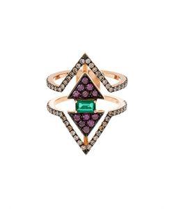Nikos Koulis | Diamond Emerald Pink-Gold Ring