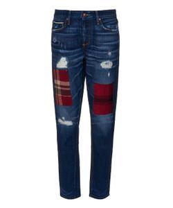 TORTOISE JEANS | Savanna Plaid-Patch Low-Rise Boyfriend Jeans