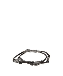Bottega Veneta | Oxidised-Silver Embellished Leather Bracelet