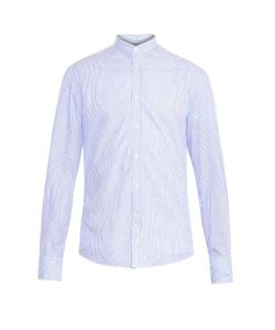 Michael Bastian | Collarless Striped Cotton Shirt