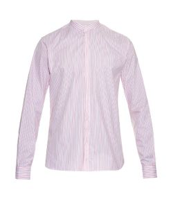 MATHIEU JEROME | Granddad-Collar Striped Cotton Shirt