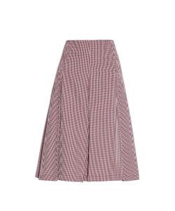TRADEMARK | Team Pleated Gingham-Checked Cotton Skirt