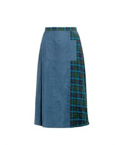 YOHJI YAMAMOTO REGULATION | Tartan-Panel Cotton Skirt