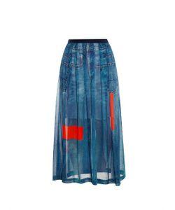 Preen Line   Celina Denim-Print Chiffon Maxi Skirt