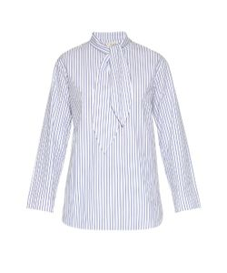 TRADEMARK | Tie-Neck Striped Cotton Shirt