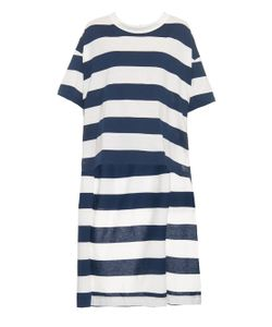 YOHJI YAMAMOTO REGULATION | Long Back-Hem Striped Jersey T-Shirt